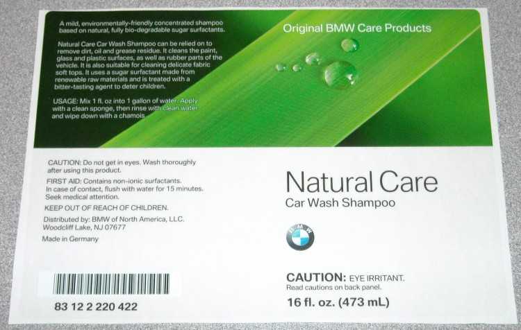 BMW Natural Care Car Wash Shampoo Label Sample Labels Product Pages