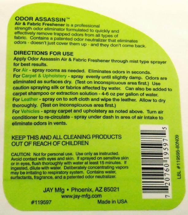 Front Amp Back 32oz Chemical Spray Bottle Labels Sample