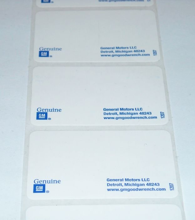 "GM 2 1/4"" x 1 1/2"" Label"