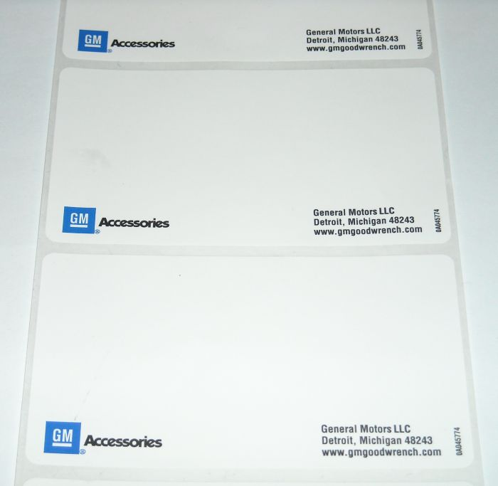 "GM Accessories 4"" x 2 1/4"" Label"